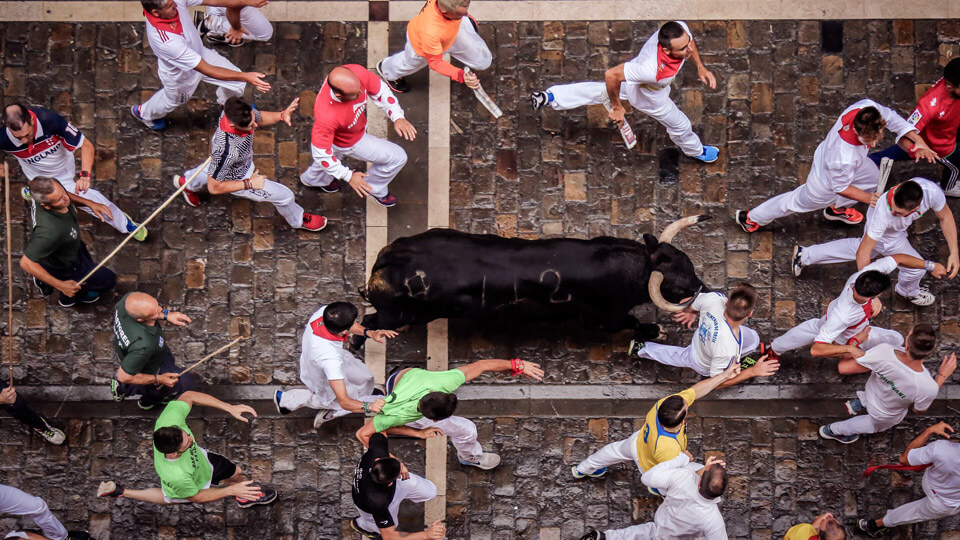 The running of the bulls in Pamplona. Spain