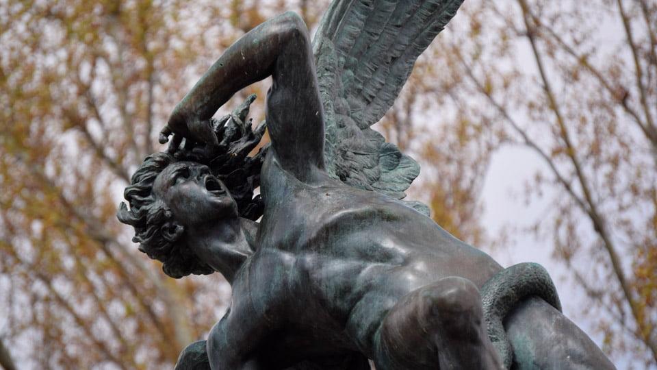 Sculpture fallen angel - Retiro (Madrid, Spain)
