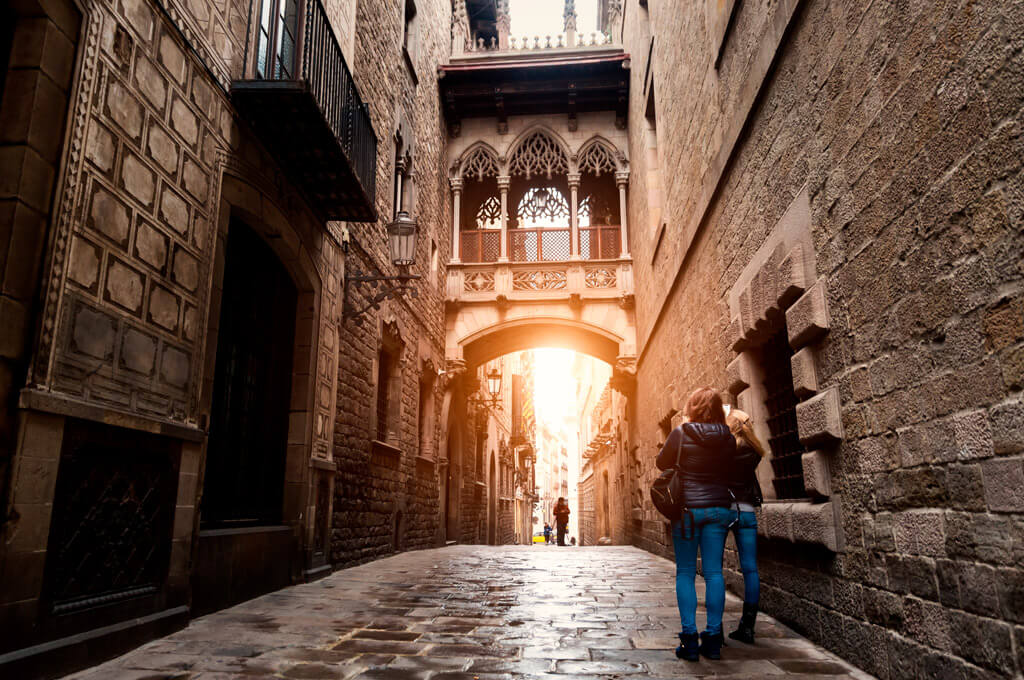 The Gothic Quarter in Barcelona, Spain