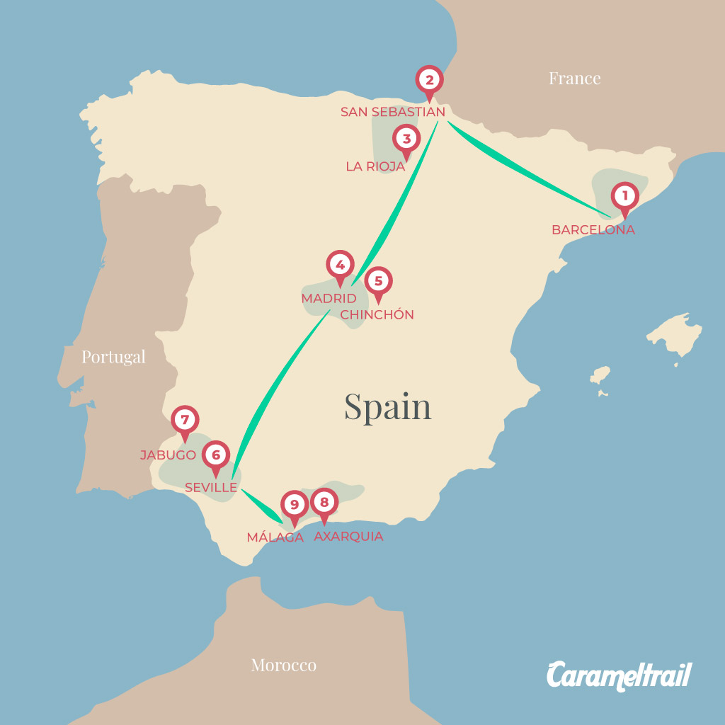 Trip itinerary map for Spain
